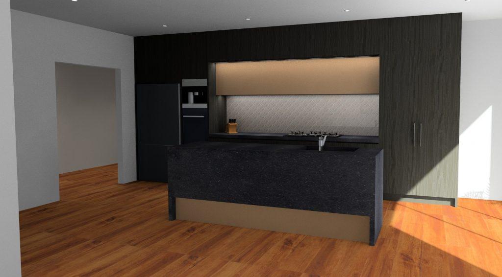 black and bronze kitchen render