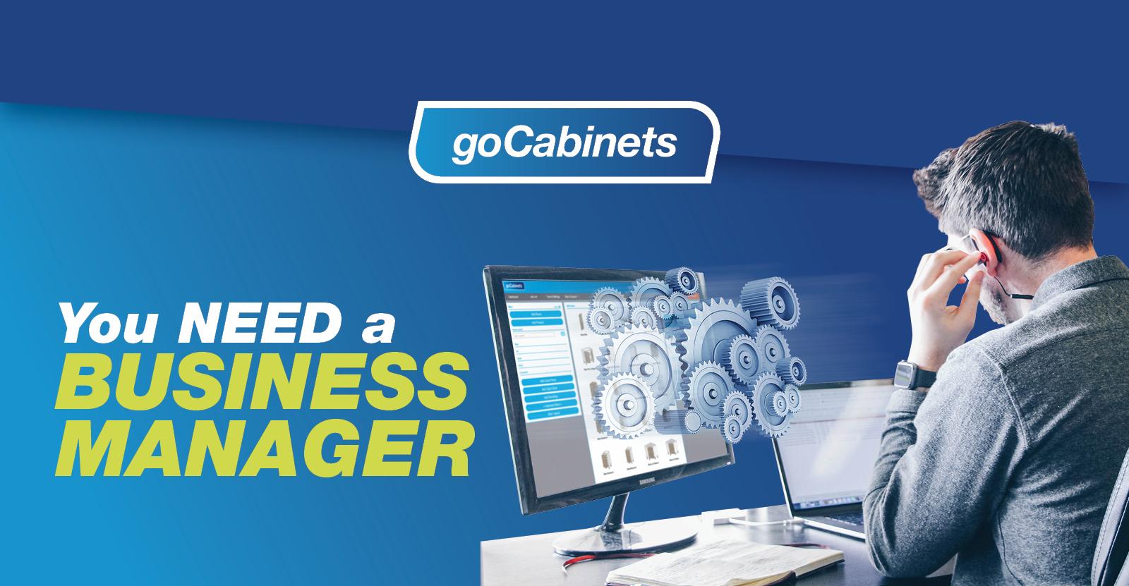 goCabinets logo, man at desktop with text